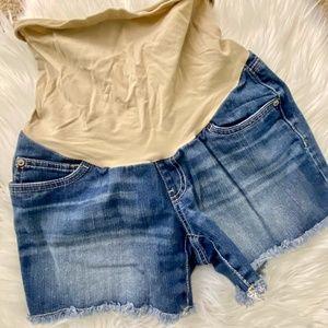 Indigo Blue Denim Cut Off Maternity Shorts